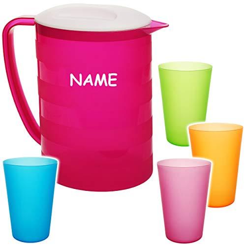 alles-meine.de GmbH 2 * 5 TLG. Set: 2 Liter - große Kanne / Krug / Getränkespender mit Deckel + je 4 Trinkbecher - rosa / pink - bunt - inkl. Name - Karaffe Wasserbecher - Wasser..