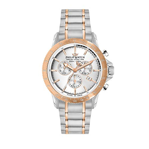 Philip Watch Men's Watch, Grand Reef Collection, Chronograph, Made of Stainless Steel, Rose Gold pvd - R8273614002