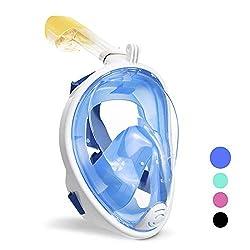 wolketon Tauchmaske Vollgesichtsmaske Schnorchelmaske 180° Sichtfeld Kamerahaltung Anti-Fog Anti-Leck für Erwachsene und Kinder (Blau L/XL)