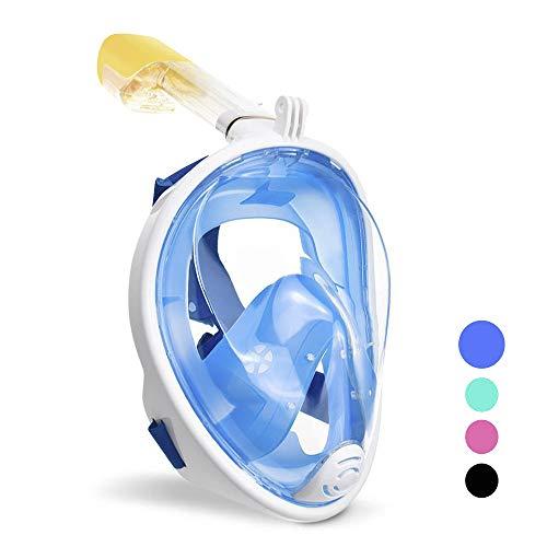 wolketon Tauchmaske Vollgesichtsmaske Schnorchelmaske 180° Sichtfeld Kamerahaltung Anti-Fog Anti-Leck für Erwachsene und Kinder (Blau S/M)