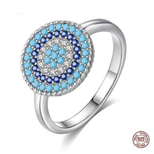 MXH Blaue türkisfarbene Evil Eye Ring Female Authentic 925 Sterling Silver Jewelry (Männer Ring Evil Eye)