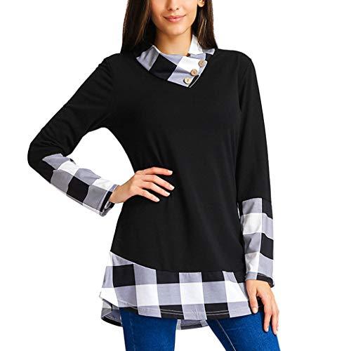 Toamen Semplice Nuova Camicia Casual T-Shirt da Donna Pullover da Jumper Pullover da Collo A Maniche Lunghe in Patchwork Scozzese Casual Camicie Camicetta(Bianca,)