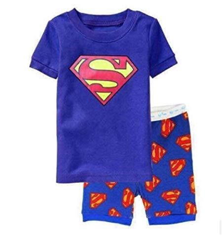 NLMX Sommerkurzschlusspyjamakindersuperheld-Rächer des kleinen Jungen (Blauer Supermann, 100CM - 4T)
