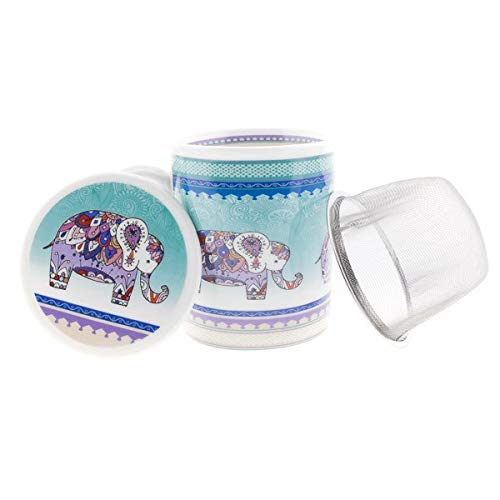Aromas de Té - Taza de Té con Filtro y Tapa/Tisana Infusiones y tes de Porcelana con Infusor de Acero, Diseño Elefante De India