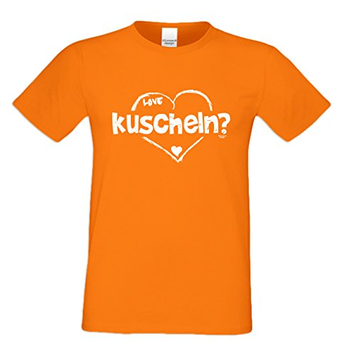 Als Liebesbeweis / T-Shirt Funshirt für Männer zum Valentin / Geburtstag / Vatertag kuscheln Farbe: orange Orange