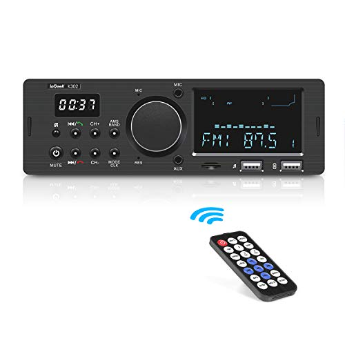 ieGeek Autoradio Bluetooth Main Libre, Double Affichage LCD avec Horloge, Supporte FM/AM/RDS Stéréo Radio de Voiture (30 Stations de Mémoire), Compatible avec USB/AUX in / MP3 / FLAC/SD