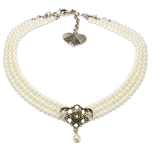 Alpenflüstern Trachten-Perlen-Kropfkette Hedwig Trachtenkette Damen-Trachtenschmuck Dirndlkette Creme-weiß DHK190