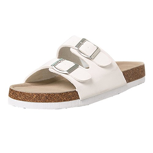Tongs Chaussures Unisexe Adulte - Mules Sandales Femme Chaussures - Chaussures en Liège Sandales Pour Homme Blanc