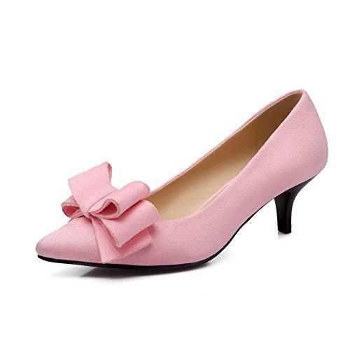 AllhqFashion Femme Pointu à Talon Correct Dépolissement Tire Chaussures Légeres Rose