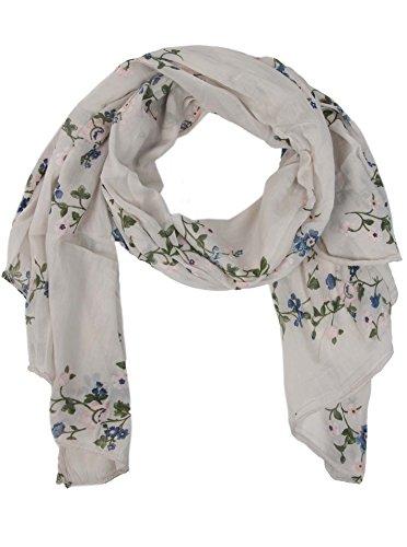 Zwillingsherz Seiden-Tuch mit Blumen Muster - Hochwertiger Schal für Damen Mädchen - Halstuch - tuchschal - Loop - weicher Schlauchschal für Sommer Herbst und Winter von Cashmere Dreams hbg -