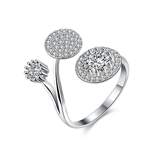 iLove EU 925 Sterling Silber Ring Zirkonia Silber 3 Runde Kreis Circle Verstellbare Größe Hochzeit Verlobung Eheringe - Sterling 3-ring Silber Größe Aus