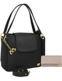 I Define You PU Leather Women And Girls Handbag & Wallet Combo (Black & Cream)