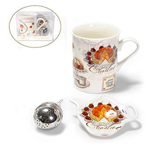 Mug tisanière en porcelaine avec filtre et plat à tarte. 00271 zl-hlvc-og21 filtres soucoupes