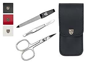 Drei Schwerter | Exklusives 3-teiliges Maniküre - Pediküre - Nagelpflege-Set / Etui | Qualität - Made in Solingen | ECHT LEDER | VERSCHIEDENE FARBEN (677105)