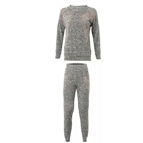 Mesdames Chrisrmas Xmas Ange Survêtement Bottom et Sweatshirt Set EUR Taille 36-42 Gris