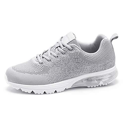 Goalsse Moda Uomo Scarpe Sportive All'aperto Cuscino D'aria Scarpe da Corsa Sneakers Fly Knitting Mesh Casual Running Fitness Sneakers Traspiranti (39 EU, Grigio)