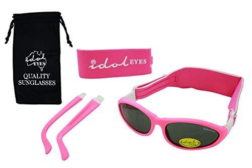 Lot de 2 paires de lunettes de soleil roses pour bébé de 0 à 5 ans - Avec 2 bandeaux et des branches amovibles
