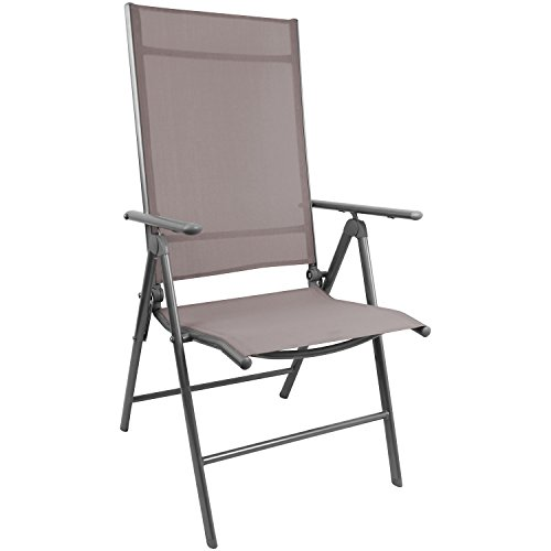 Eleganter Gartenstuhl mit 2x1 Textilenbespannung, Lehne um 7 Positionen verstellbar, klappbar, Silbergrau/Taupe, Hochlehner Positionsstuhl Klappstuhl