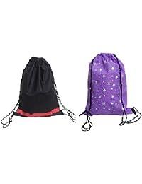 Demoda Kids Haversacks Birthday Party Return Gift Bags Backpacks (Pack Of 24-12 Printed Purple,12 Black)