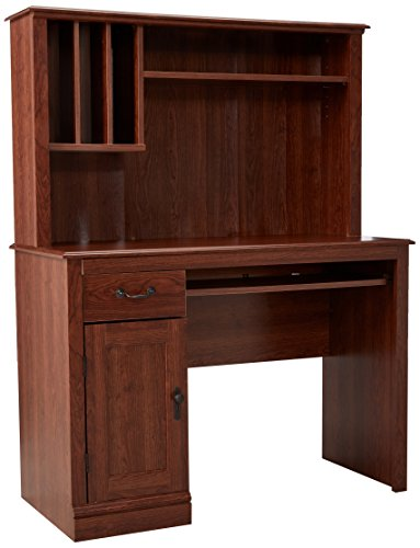 Sauder Solutions Camden County Computer Desk with Hutch, Planked Cherry by Sauder -