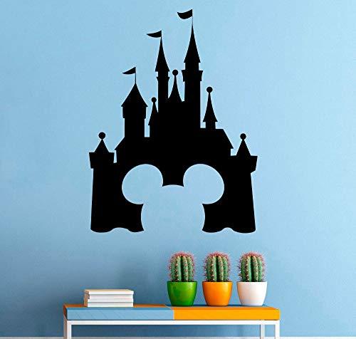 Schloss Vinyl Wandaufkleber Mickey Mouse Design Wandtattoo Märchen Interieur Kinderzimmer Dekor Abnehmbare Burg Wandbild 32 * 42cm ()