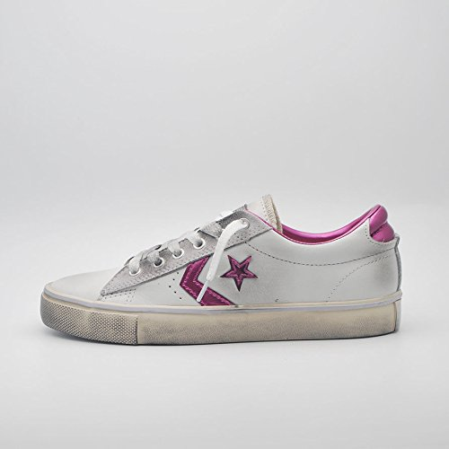 Converse Pro Leather Vulc Ox, A Collo Basso Donna, Bianco (White/Plastic Pink/Turtledove), 40 EU