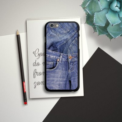 Apple iPhone 6 Housse Étui Silicone Coque Protection Jeans Mode Bleu CasDur noir