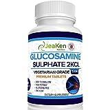 PREMIUM GLUCOSAMINE SULFAAT 2KCl 1500 mg door JeaKen - 365 tabletten (1 jaar levering) | Max sterkte Glucosamine-supplement | Glucosamine sulfaat Vegetarisch | Gemaakt in VK naar GMP-code