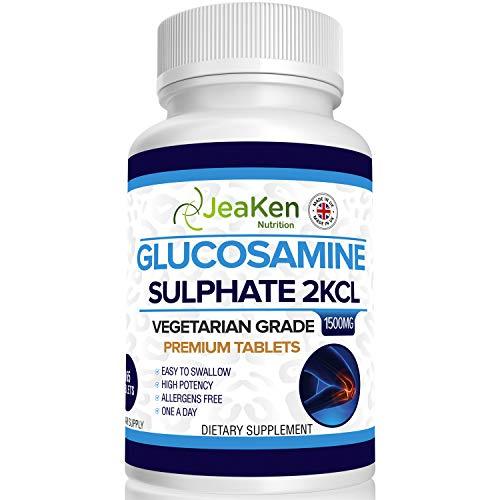 PREMIUM GLUCOSAMINA SOLFATO 2KCl 1500mg Di JeaKen - 365 compresse (1 anno di alimentazione) | Glucosamina ad alta resistenza | Grado di vegetariani e vegani | Prodotto nel Regno Unito al codice GMP