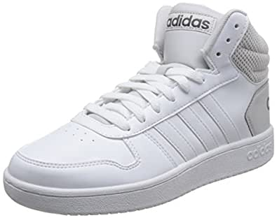 701c3c79e6c6 Adidas Men s Hoops 2.0 Mid Ftwwht Ftwwht Greone Basketball Shoes ...