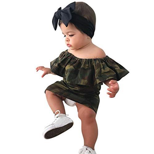 Julhold Kleinkind Kind Baby Girl Camouflage Gedruckt Schulterfrei Prinzessin Kleid Kleidung Mode Niedlich Geeignet für die Reise