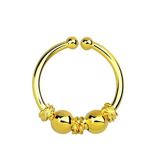 Septum Piercing Fake Gold 925 echt Silber vergoldet 14KT (Echtes Sterling Silber Nase Ringe)