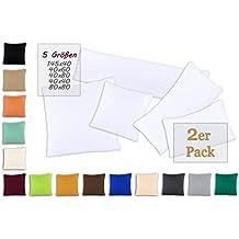Conjunto de dos fundas de almohada, funda de almohada, fundas 100% algodón con cremallera - 15 colores y 5 tamaños 40x80 cm blanco