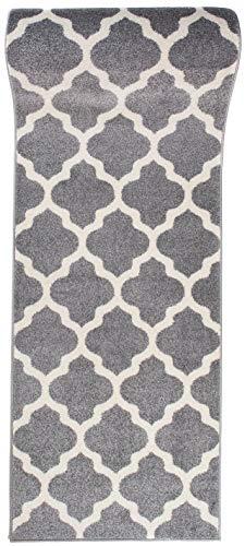 WE LOVE RUGS CARPETO Läufer Teppich Brücke Teppichläufer - Orientalisches Marokkanische - Flur Modern Designer Muster Meterware - Casablanca Kollektion von Carpeto - Grau Weiß - 60 x 200 cm