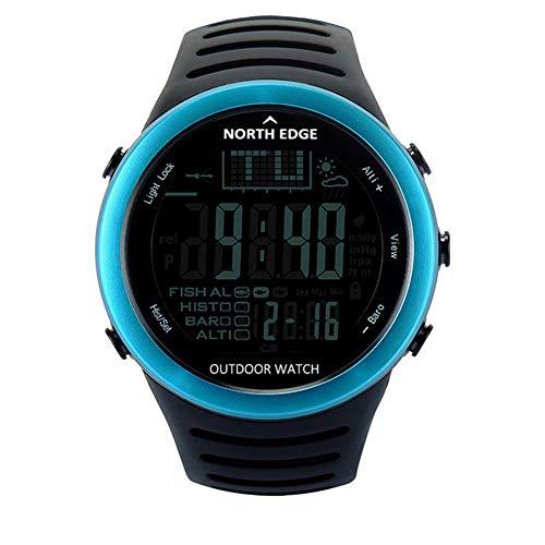 GYJUN Outdoor-Smartwatch Höhenmesser Barometer Thermometer Multifunktions-Armbanduhren Sportklettern Wandern Clock Chronograph mit LED Digitalanzeige,Blue (Clock Chronos)