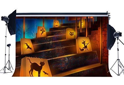 BuEnn Halloween-Hintergrund 9X6FT Vinyl All Saints 'Tag Kulissen Haunted Castle Interior Treppe Geistergeister Spooky Hallowmas Fotografie Hintergrund Maskerade Party Fotostudio Requisiten YX1002