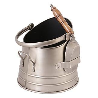 Cubo de metal para chimenea con asa de transporte y pala (L512)