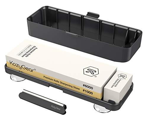 KozyGear Messerschärfer Schleifstein Körnung 1000/6000 doppelseitige Whetstone für Sushi-Messer, Fleischklinge, Schere [Z-2]