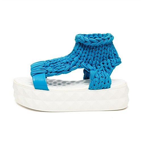VogueZone009 Donna Tirare Punta Aperta Tacco Medio Tessuto Lucido Puro Sandali Azzurro