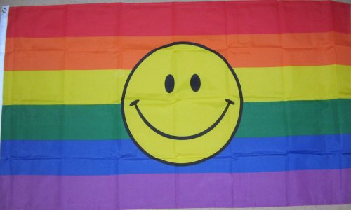 Homosexuell Stolz Regenbogen Smile Gesicht Flagge 5' x 3'