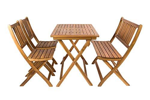 SAM® Salon de Jardin, Bois d'Acacia, 4 unités, 1 Table + 2 chaises Pliantes + 1 Banc, Meuble de Jardin, certifié FSC® 100%