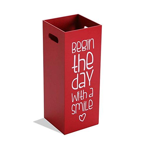 Versa 15615666 portaombrelli rosso fluor, 53x21x21cm, legno, moderno