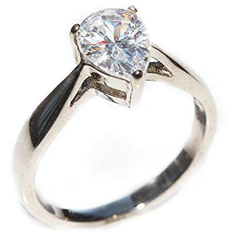 Ah! Jewellery Ladies Stainless Steel Simulated Pear Cut 1.70ct Diamond Ring. Stamped 316. Lifetime Guarantee. Never Tarnish. 8.6mm Total Width. Individual Unique Engagement Wedding Ring.