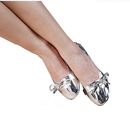 Wgwioo Frauen Pu Metallic Leder Bauchtanz Ballett Flache Soled Schuhe Silver