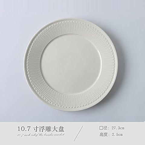Hankook Chinaware continental creative bianco goffrato piatti e posate set disco occidentale insalatiera tazze piccole 27.3*2.5cm,4 fresche, parte della grande vassoio bianco 10,7 pollici (1 utilizzati)