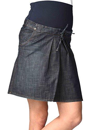 Christoff Umstandsrock Schwangerschaftsrock Jeans-Rock - Taschen Falten Ziernähte - hoher Bund - A-Form - 114-14-8 - blau denim blue - Gr. XL (Saum-jeans-rock)