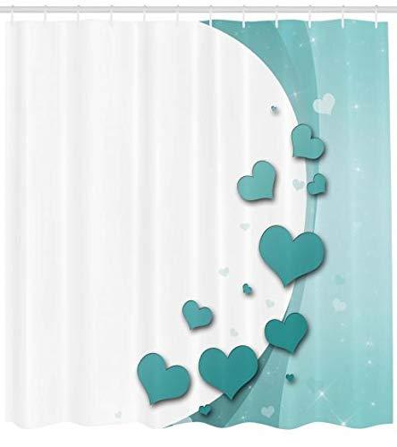 ABAKUHAUS Türkis Duschvorhang, Herzen Valentines, Wasser Blickdicht inkl.12 Ringe Langhaltig Bakterie und Schimmel Resistent, 175 x 200 cm, Türkisfarbene Teal-weiß