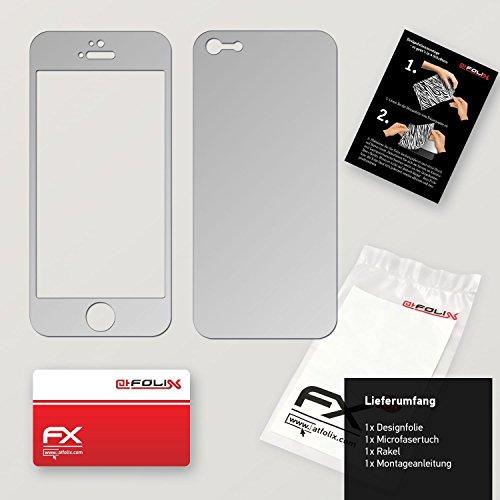"Skin Apple iPhone 5 ""FX-Velvet-Black"" Designfolie Sticker FX-Chrome-Soft-Silver"