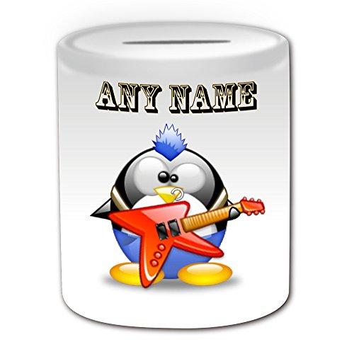 Personalisiertes Geschenk–Elektrische Volcano Gitarre Spardose (Design Pinguin in Kostüm Thema, weiß)–alle Nachricht/Name auf Ihre einzigartige–Punk–Musik Musikinstrument
