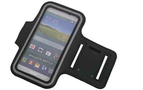 Für Blackview, Cubot, Leagoo, Samsung, Huawei, Apple, LG Electronics, Nokia, HTC, Lenovo, Motorola, Xiaomi Neopren Jogging Armband Sportarmband Oberarmband schwarz für Blackview, Cubot, Leagoo, Samsung, Huawei, Apple, LG Electronics, Nokia, HTC, Lenovo, Motorola, Xiaomi mit Reflektor Streifen. Fitness Lauf Armband
